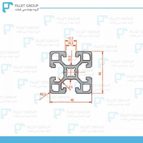 پروفیل آلومینیوم شیاردار صنعتی (پروفیل مهندسی) 45*45 سنگین دایره ای
